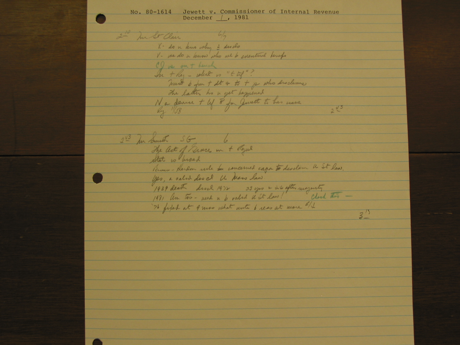Timothy Johnson : Oral Argument Notes